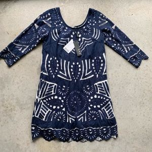 Anthropologie NWT KAS NY dress navy blue scallop